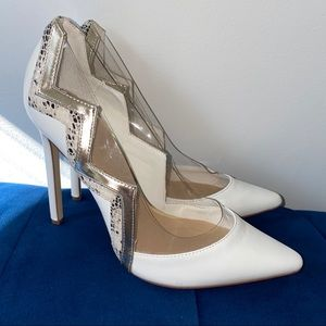 White semi-transparent Heels with snake elements